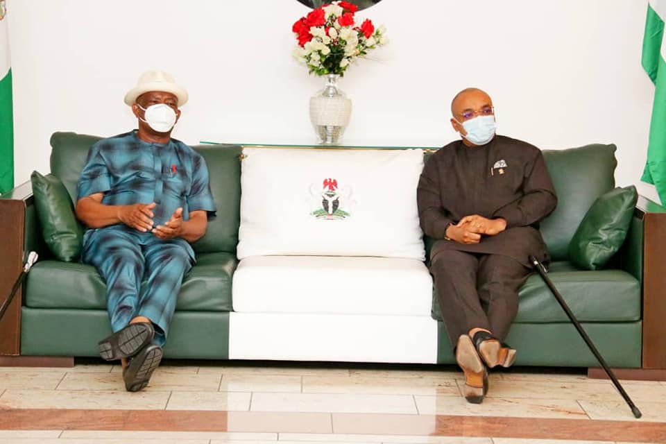 Akwa Ibom State Governor Udom Emmanuel receives Rivers state counterpart Nyesom Wike on condolence visit