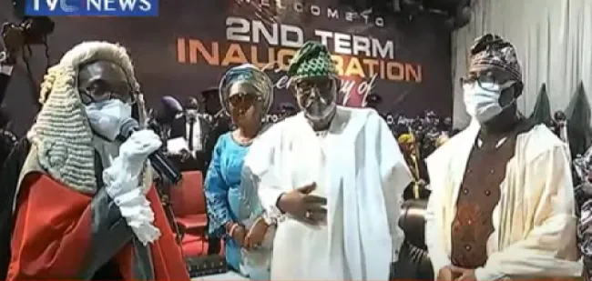 Governor Rotimi Akeredolu has been sworn-in today to begin his second term in office. Akeredolu who took his oath of office alongside his new deputy, Lucky Aiyedatiwa, at the International Culture and Event Center, Igbatoro Road, Akure again pledged to put the interest of the state above his personal interest as he begins his second term journey. CUE IN…………………………..ONDO The Governor was re-elected on October 10, 2020, on the platform of the All Progressives Congress. He defeated the People's Democratic Party candidate, Eyitayo Jegede, and his former Deputy Governor, Agboola Ajayi, who contested on the platform of the Zenith Labour Party.