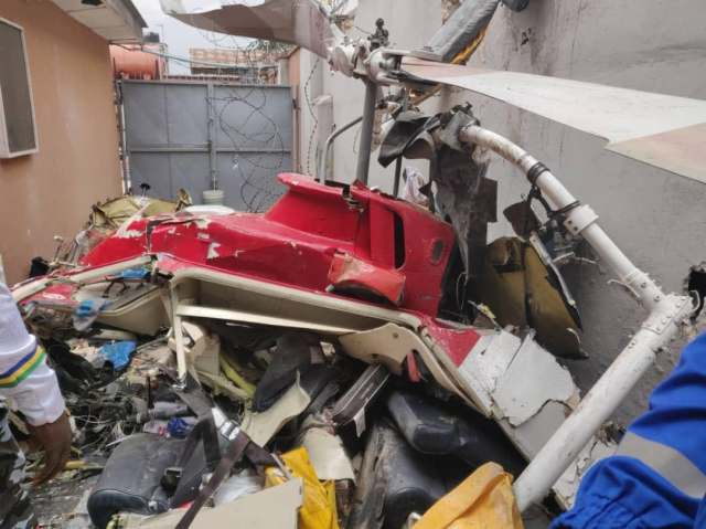 Helicopter crashes into building in Ikeja