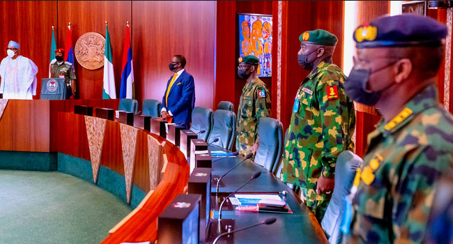President Muhammadu Buhari presides over security meeting at State House